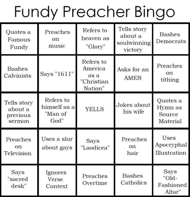 Fundy Preacher Bingo