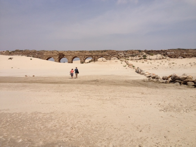 Ancient aqueduct in Caesarea on the Mediterranean Sea.