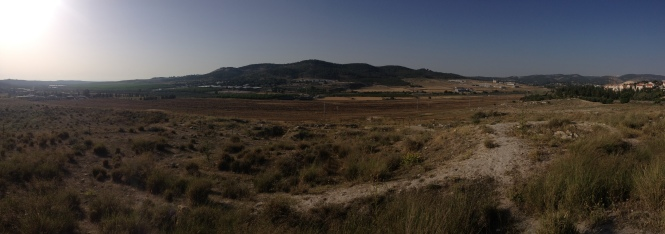 Beit Shemesh. A panoramic shot of the way the Ark of the Covenant travelled as it moved from Philistine land (left) to Beit Shemesh (rocks on far right).