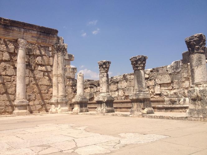 Capernaum synagogue ruins.