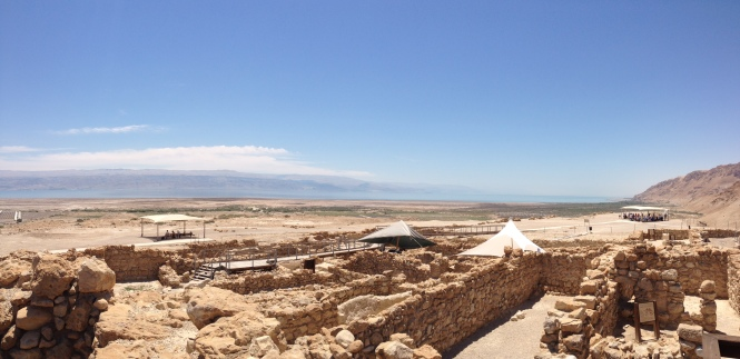 View of the Dead Sea from Qumran ruins.