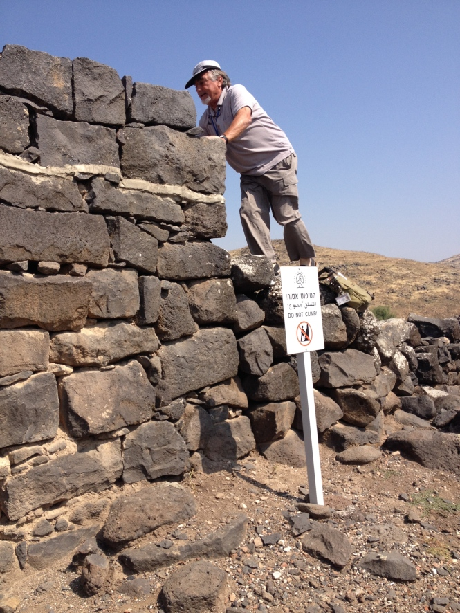 "Our guide doing whatever he wants (sign reads, ""Do not climb""). In Chorazim."