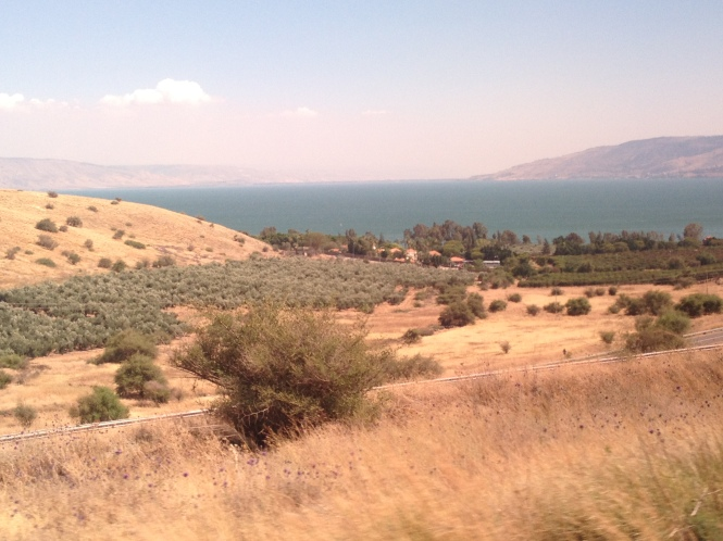 'Mount of Beatitudes' (left) and the Sea of Galilee.