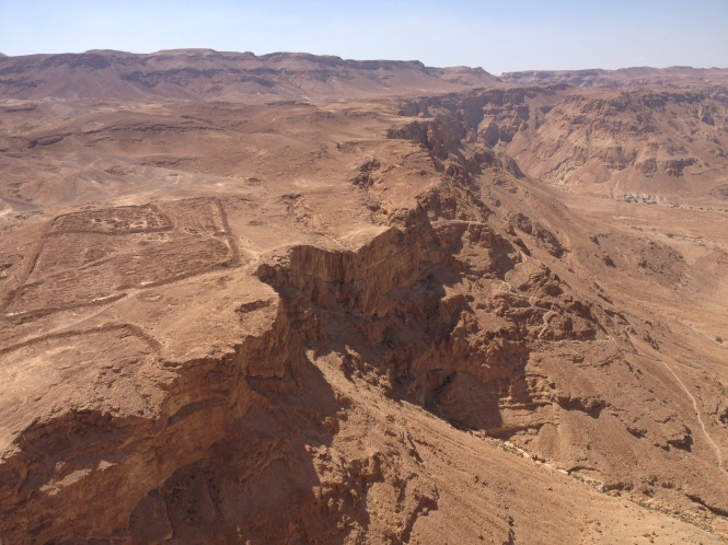 View from Masada (Roman siege station on the left).